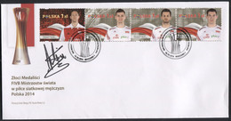 POLAND 2014.10.18 World Volleyball Championship Gold Medalists, Sport FDC, P21 With Original Autograph Stephane Antiga ! - Pallavolo
