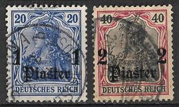 German Post In Turkey Ottoman Empire 1905/1906 Surcharge 1Pi On 20Pf & 2Pi On 40Pf. Mi 38 41/Sc 45 48. Used - Ufficio: Turchia