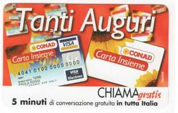 CHIAMAGRATIS CONAD TANTI AUGURI, Usata Tiratura 250.000, Mantegazza, 30/04/2000 - Unclassified