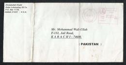 Saudi Arabia Box Meter Mark Air Mail Postal Used Cover Jeddah To Pakistan - Saudi Arabia