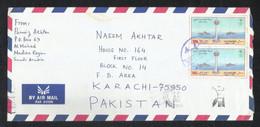 Saudi Arabia Air Mail Postal Used Cover Back Slogan Postmark Al MAHD To Pakistan - Saudi Arabia