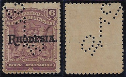 British South Africa Company 1910 Stamp Date Day Month Year Overprint Rhodesia Revenue Fiscal Usage Lochung Perfore - Other