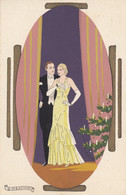 Illustratori - Meschini - Coppia In Ovale Con Albero Di Natale  - F. Piccolo - Viagg - Molto Bella - Dipinta A Mano - Other Illustrators