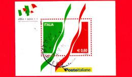 ITALIA - Usato - 2011 - 150º Anniversario Dell'unità D'Italia - Tricolore Italiano - Bandiera - 0,60 € - Blocs-feuillets