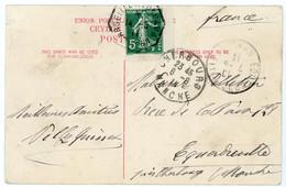MARITIME CP 1911 MARSEILLE A YOKOHAMA N° 7 SUR 5C SEMEUSE / CP DE COLOMBO INDICE 9 COTE 55 EUROS - 1877-1920: Semi Modern Period