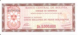 BOLIVIE 5 MILLIONS PESOS  BOLIVIANOS  D.1985 UNC P 193 - Bolivia