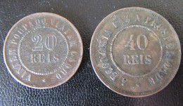 Brésil / Brazil - 2 Monnaies : 20 Reis 1908 Et 40 Reis 1909 - Brasile