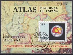 SPANIEN  Block 59, Gestempelt, Internationale Konferenz Für Kartographie, Barcelona, 1995 - Blocks & Kleinbögen