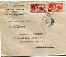 VIET-NAM LETTRE DEPART SAIGON 9-8-1952 VIET-NAM POUR LE NORD VIETNAM - Vietnam
