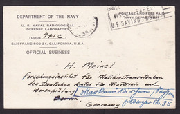 USA: Official Business Postcard To Germany, 1959, Navy, Naval Radiological Defense Laboratory, Military (traces Of Use) - Lettres & Documents