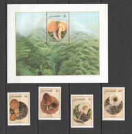 PM091 1992 GRENADA FLORA MUSHROOMS #1491-94 MICHEL 1SET+1BL MNH - Paddestoelen
