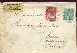 66423 Austria, Circuled Registered Cover 1910 From Mahr.schonberg To Mestrino Italy,  (some Damages !) See 2 Scan - Brieven En Documenten