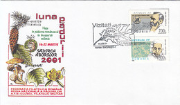 8701FM- FOREST'S MONTH, TREES, MUSHROOMS, PLANTS, SPECIAL COVER, 2001, ROMANIA - Paddestoelen