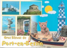 CHATS - GROS BISOUS DE PORT-EN-BESSIN - 1 PETIT CHAT SUR UNE BARQUE - 4 VUES - CPM - VIERGE - - Gatos
