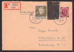 Postkrieg R-Bf Frankfurt Nach Der DDR Mit Kriegsgefangener Hinter Stacheldraht Geschwärzt, BRD 165 PK I - Lettres & Documents
