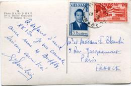 VIET-NAM CARTE POSTALE -SUD VIET-NAM -GARDIENS DE BUFFLES DEPART SAIGON 10-2-195(5) VIETNAM POUR LA FRANCE - Vietnam