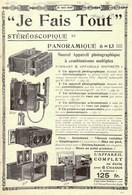 Publicité Papier APPAREIL PHOTO STEREOSCOPIQUE ET PANORAMIQUE Juillet 1906 JSP1043875 - Werbung