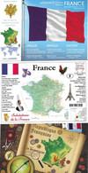 FRANCE - 3 CARTES POSTALES NEUVES GEOGRAPHIQUE - CARTE ET DRAPEAU TRICOLORE FRANCE - - Carte Geografiche