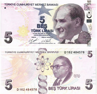 TURKEY 5 LIRA 2009 (2020) P 222d - UNC - Turkey