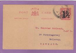 ENTIER POSTAL SURCHARGE 1 1/2 SUR ONE ANNA DE MADRAS POUR HELLERUP,DANEMARK.1924. - 1911-35 King George V