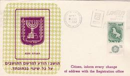 CITIZEN, INFORM EVERY CHANGE OF ADDRESS WITH THE REGISTRATION OFFICE. ISRAEL. SPC 1.11.1962 TEL AVIV.- LILHU - Postleitzahl