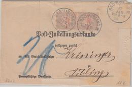 Bayern - 2x10 Pfg. Wappen Portomarken Zustellurkunde Bad Aibling 2 1900 - Bavière