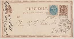 Dänemark - 6 Ö. Ziffer Ganzsache + 4 Ö. Ringstpl. 70 Svendborg Lübeck 1880 - Postal Stationery