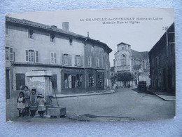 Cpa LA CHAPELLE DE GUINCHAY Grande Rue Et église   71 Saône Et Loire - Other Municipalities