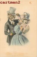 BELLE CPA : ILLUSTRATEUR M.M. VIENNE M. MUNK CHAT HUMANISE CAT KAT CHATS HUMANISES HABILLES COUPLE BOURGEOIS VIENNOISE - Chats