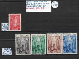 MACAO **1948 + SURINAME **1954 - 5 VALORI COMPLETI - Ongebruikt