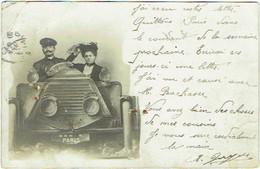 """Carte Photo Montage. Trucage. Couple En """"Auto""""; Photo-Cartes, Paris. - Photographie"""