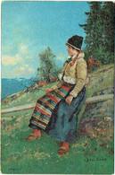 Illustrateur : ENDER, Axel. Norge. Femme En Costume Folklorique. Enebet. Mode. - Other Illustrators