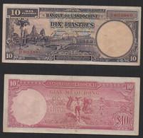 INDOCHINE FRANÇAISE Billet 10 Piastres 1945/47 Non Daté Violet Angkor Vat XXF - Other