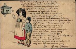 Entier Postal Lithographie Frau Mit Junge, Briefkasten, Trachten Elsass - Costumes