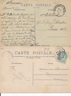 Cachet Convoyeur (45 Loiret) 2 Cartes Montargis à Paris Et Montargis à Saint Germain Des Fosses Levées Supplémentaires ? - Spoorwegpost