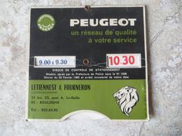 Automobile - Disque De Stationnement Peugeot - Le Lion Garage Concessionnaire Quai Le Gallo Boulogne Tel N° 825.63.85 - Sin Clasificación