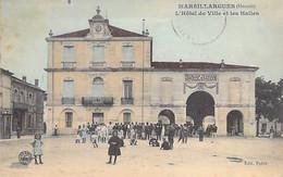 34 - MARSILLARGUES : L'Hotel De Ville Et Les Halles ( Animation )  CPA Colorisée - Hérault - Autres Communes