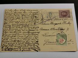 Carte Postale, Oblitéré Luxemburg Avec Timbre Taxe - Brieven En Documenten