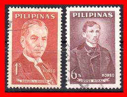 FILIPINAS.-  PHILIPPINES.- SELLOS AÑO 1962 NUEVA MONEDA FILIPINOS FAMOSOS - Philippines