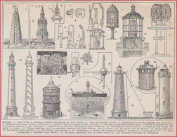 Phare. Illustration Maurice Dessertenne. Phares: Tour D'Ordre à Boulogne, Tour De Cordouan, Matériels ... Larousse 1948. - Documenti Storici