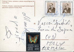 66431 Costa Rica, Circuled Card  To Italy As Scan - Costa Rica