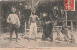 "CPA  Cirque Circus Cirk Grande Exposition ""India"" Montreur D' Ours Teddy Singe Monkey   2 Scans - Circus"
