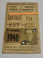 Carte D'identité, SNCF 1940. Résidence Bettembourg Luxembourg - Railway