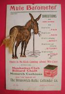 American Mule Barometer Mula Pub Manhattan Club Billard Chalk System Card Sans Editeur Dos Scanné - Advertising