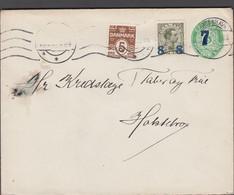 1923. DANMARK.  7 On 5 øre Envelope (without Print Number)  5 øre + 8 On 12 øre Chris... (Michel 113+) - JF424975 - Brieven En Documenten