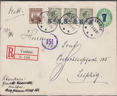 1921. DANMARK.  7 On 5 øre Envelope (with Print Number)  + 3 Ex 8 On 12 øre Christian... (Michel 112+) - JF424986 - Brieven En Documenten