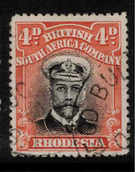 RHODESIA 1913 4d Black And Orange-red SG 261 U #BAD4 - Other