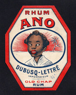 (22/09/21) THEME PUBLICITE-ETIQUETTE RHUM ANO - DUBOSQ LETTRE - Advertising