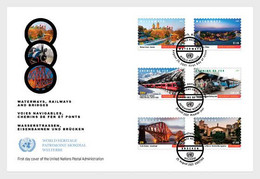 United Nations 2021 Onu Un Bridges Waterways Railways World Heritage 1ENV6V FDC         3 AT 5 WEEK TO DELIVRERY - Ungebraucht