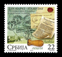 Serbia 2013 Mih. 525 Stamp Day. Act On Regulation Of Postal Service In Serbia MNH ** - Serbia